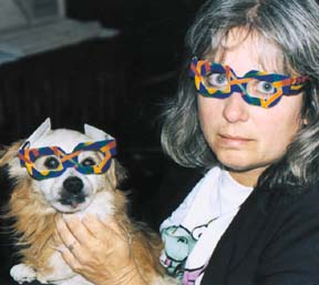 dog and woman wearing 3D glasses image
